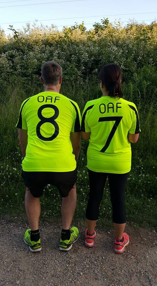 Phil and Amanda sporting their OAF tops